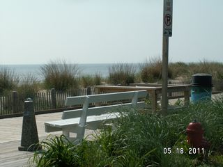 Rehoboth Beach condo photo - Bench At End of Our Street With Foot Wash