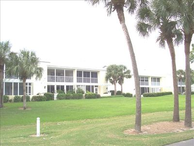 View of condominium from golf course