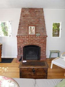 Original restored craftsman design wood burning fireplace