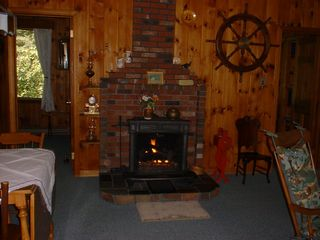Somesville chalet photo - Upper Level Gas Fireplace (2 bedrooms on this level.Entries off living room)