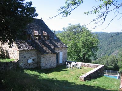 Argentat cottage rental - Rear of Crozat showing pool and Tours de Merle