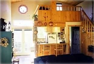 "Interior of Main Cabin ""Driftwood"" Kitchen and Loft"