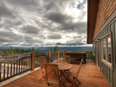Our beautiful deck with summer views..400 sq ft patio with BBQ and hot tub