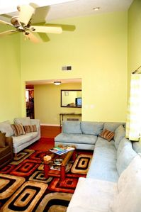 Living Room seats 10 comfortably with High Ceilings and Pull out Sofabed
