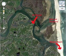 Eastham house photo - Aerial of house (left arrow) and the waterway to the National Seashore and Nauset Beach.