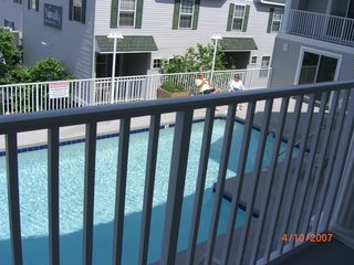 Bel Mare Ocean City condo photo - Gated pool directly outside our condo. View from 2nd floor looking down.