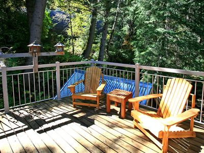 Sunny Deck High Above Stream in the Trees