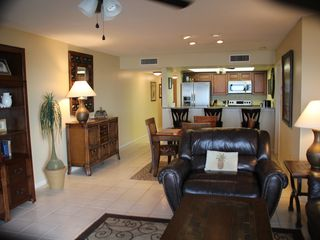 Clearwater Beach condo photo - Living Room to Dining area and Kitchen