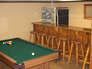 Lehighton house photo - pooltable/ping pong table and penny bar with rustic log stools