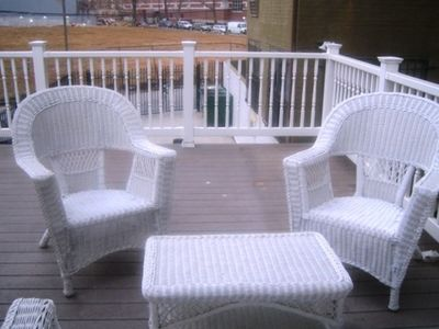 Columbia Heights house rental - Deck Chairs for your outdoor enjoyment with slider doors from the living area