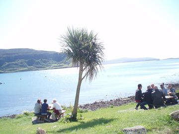Enjoying a Drink outside the Stein Inn, Waternish