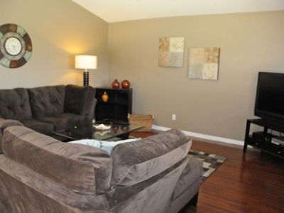 "Family Room with 50"" Widescreen Cable TV, DVD Player and Desk for Your Laptop"