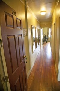 The entry hall. We refinished the original hardwood floors.