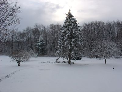 Lancaster farmhouse rental - View from the front porch in Winter