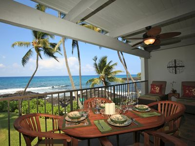 Lanai with teak dining table and chairs and very comfy lounge chairs!