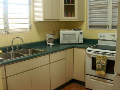 Fully equipped kitchen; microwave, stove, full size fridge. From pots to spices.