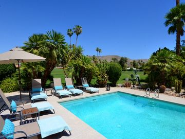 Palm Springs house rental - The Deep End of the Pool with the Golf Course Beyond