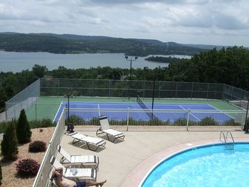 Branson condo rental - The community clubhouse has a great outdoor pool and tennis court for your use