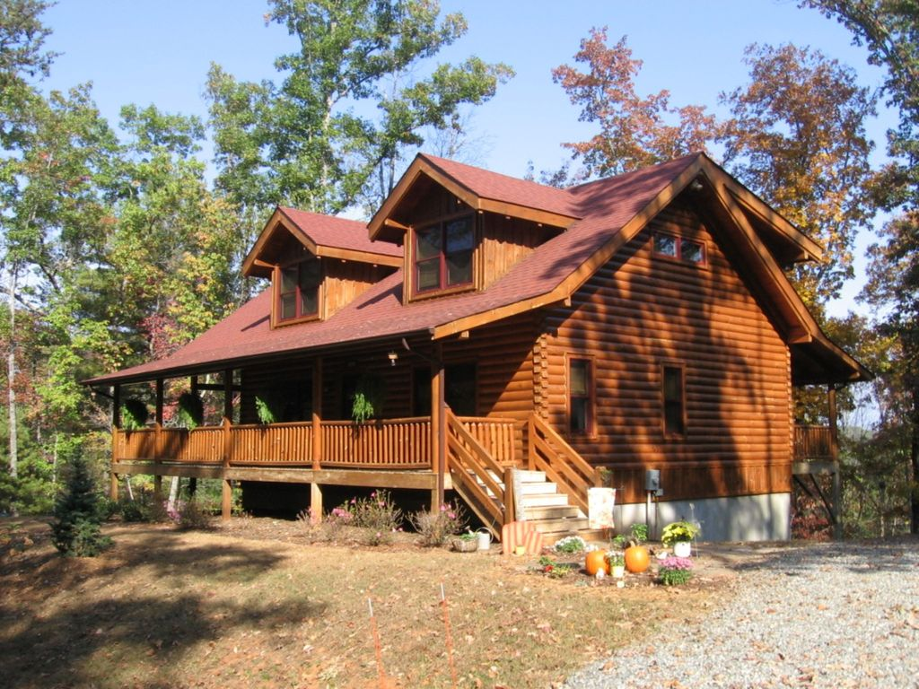 Cozy New 2 BR/2 BA Log Cabin Lake Lure Riverbend Community W/Hot Tub. Full resolution  portrait, nominally Width 1024 Height 768 pixels, portrait with #A05C2B.