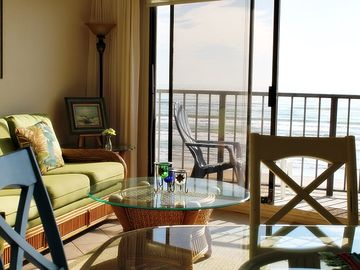 South Padre Island condo rental - Living Room and Balcony with the beautiful morning sunshine!