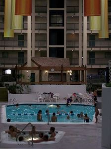 Indoor pool and jacuzzi in our building