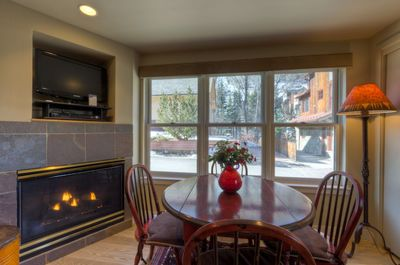 Dining with a gas fireplace