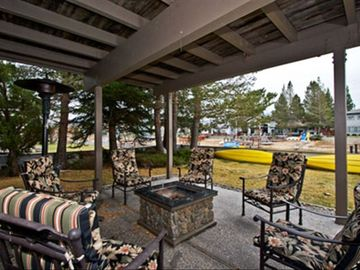 One of the comfortable patio and deck areas that overlook the waterway.