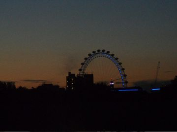 Sunset view of The London Eye from living room