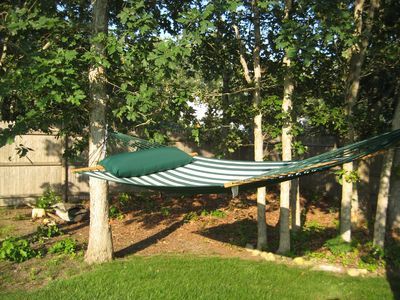 Spend a lazy afternoon in our hammock. . .