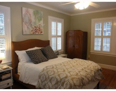 Front Bedroom at Castle Cottage - Queen Bed and comfy bedding!