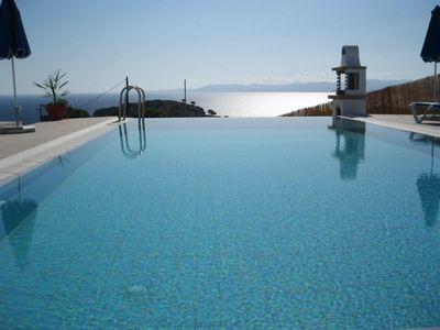 villa pool onto aegean
