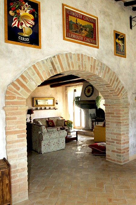 Brick archways between rooms