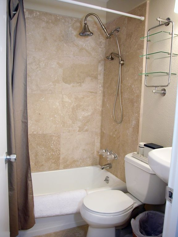 The travertine bathroom