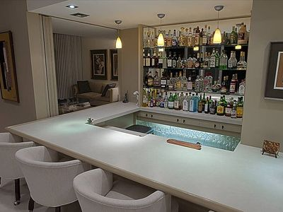 The well-stocked bar at the Cody House.