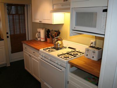 San Francisco apartment rental - View of gas stove, oven, microwave, toaster & coffee maker.