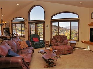 Steamboat Springs house photo - Upper Living Room with Fireplace, TV, and Great Views