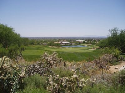 Arizona National Golf Course number 18 with clubhouse, fantastic!