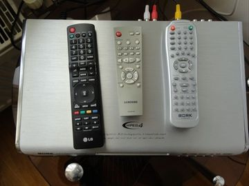 DVD, TV, Cable TV controls and box
