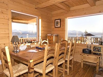 Sit down to a meal with plenty windows to enjoy the views.
