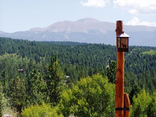 Florissant estate photo - View of Pikes Peak from driveway.
