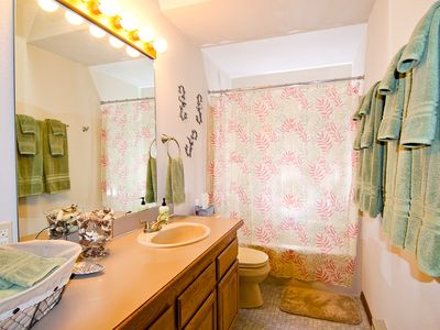 2 bathrooms. Guest bath shown here, master bathroom is similar w/ double sinks.