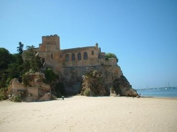 The beach & Castle opposite our villa