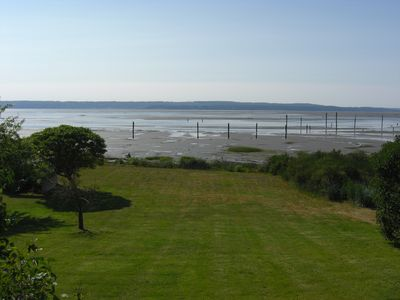 View of Low-Tide Beach from Deck. Steps Away Across the Manicured Lawn.
