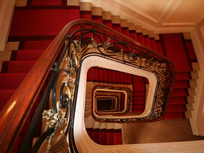 Amazing staircase in this unique historic building