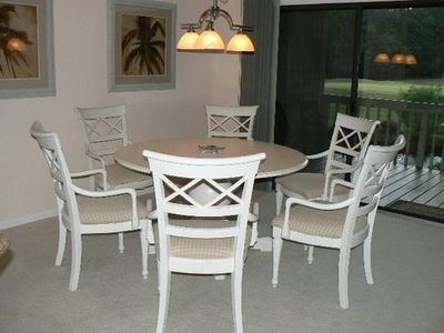 Large coastal style dining table seats 6