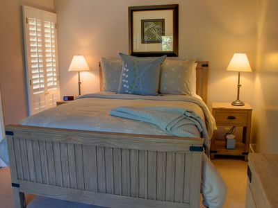 Guest Room off the Family Room with Luxury Bedding