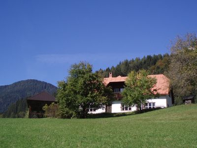 House Goldberg amidst sunny meadows in the Carinthian Mountains