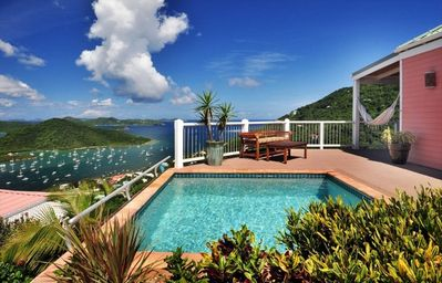 Private pool with warm Caribbean breezes and down island ocean views.