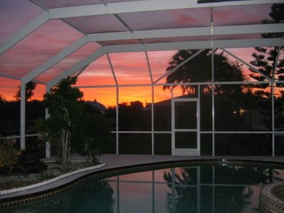 View of pool at sunrise!