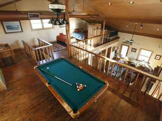 Mason lodge photo - Upstairs Loft with full size pool table and foozball table.